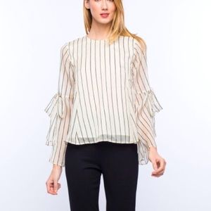 3/$25 LINE & DOT Striped Tie Bell Sleeve Blouse